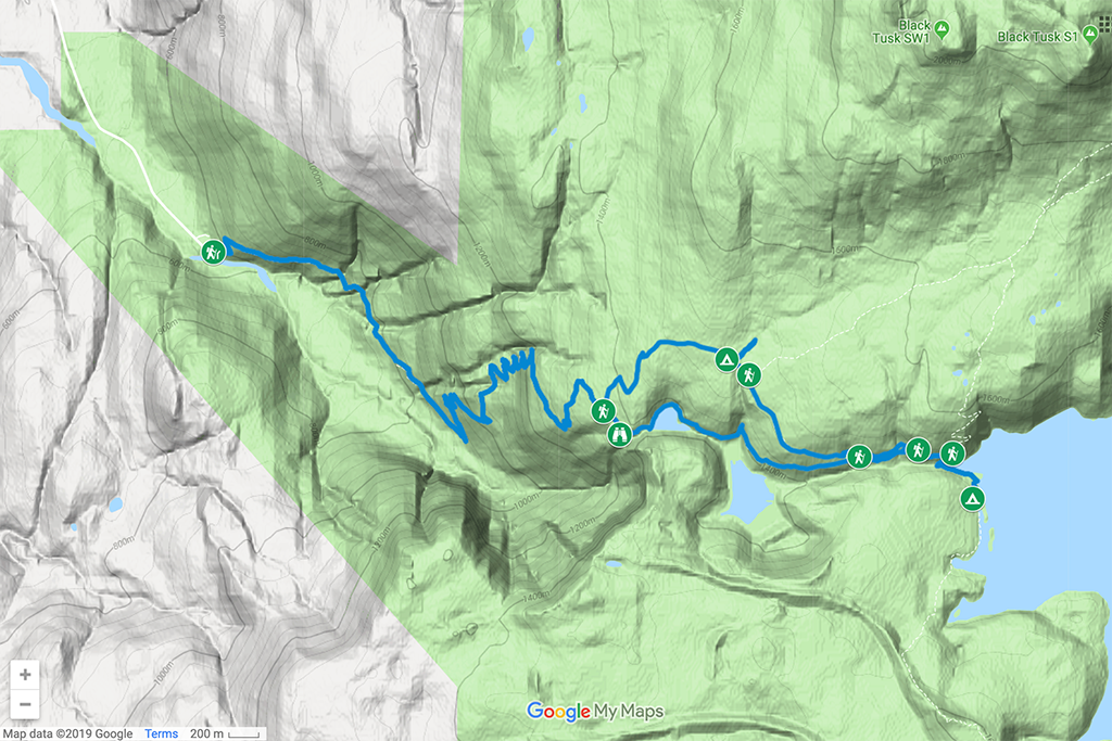 Trail Map to Garibaldi Lake near Whistler, BC