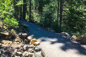 The Sea to Sky Trail - Brandywine to Whistler Bungee Bridge is compact gravel like the one shown here.