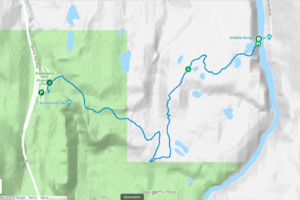 Map of Sea to Sky Trail from Brandywine Falls to Whistler Bungee Bridge