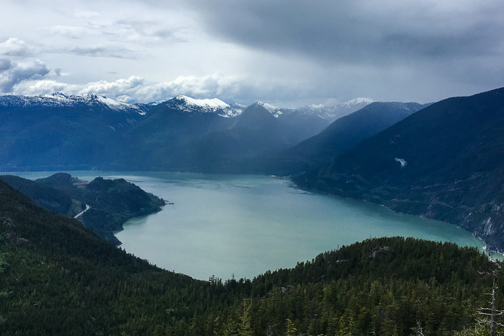 View of Howe Sound and the Coast Mountains from the top of the Sea to Summit Trail near Squamish, BC