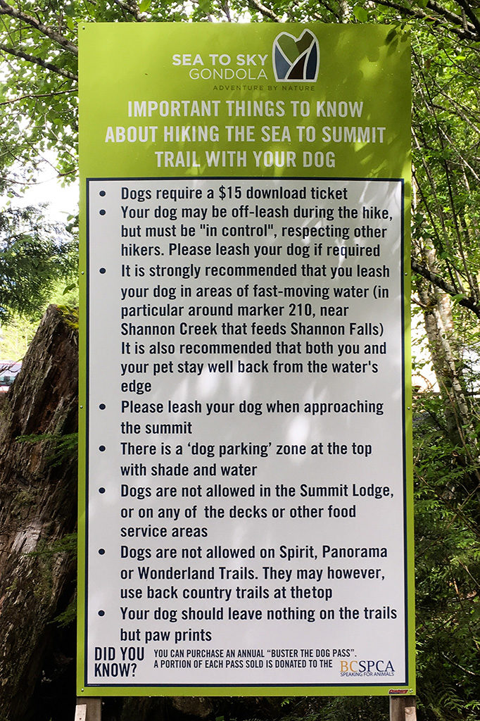 A sign indicating the Sea to Summit Trail regulations pertaining to dogs.