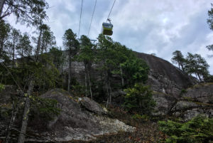 Looking at the gondola above the Sea to Summit Trail near Squamish, BC