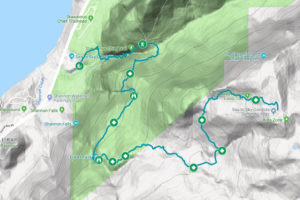 A trail map of the Sea to Summit Trail near Squamish,BC